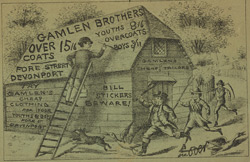 Advert For Gamlen Brothers, Juvenile Outfitters reverse